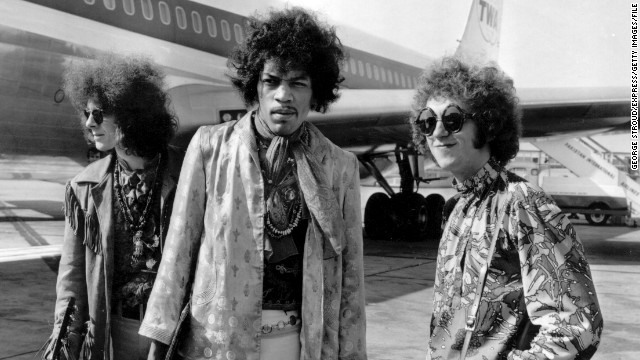 While he was surging in popularity across the pond, Jimi Hendrix and his captivating way of playing guitar soon became known to U.S. audiences. The Jimi Hendrix Experience, seen here at the London Airport in August 1967, performed at the Monterey Pop Festival.