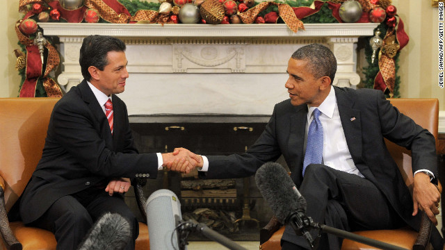 Mexican President-elect Enrique Pena Nieto meets with President Barack Obama on Tuesday at the White House.
