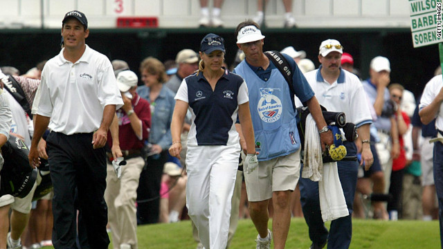 Sorenstam became the first woman to take part in a men's professional PGA tournament when she competed in the Colonial in Texas in 2003. She narrowly missed the halfway cut. 
