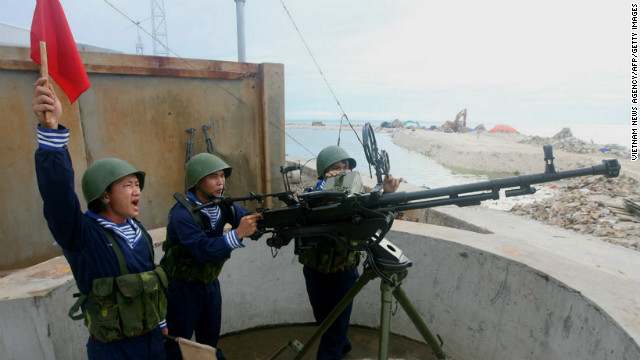 Vietnamese sailors training with a 12.7 mm machine gun on Phan Vinh Island in the disputed Spratly archipelago in 2011.