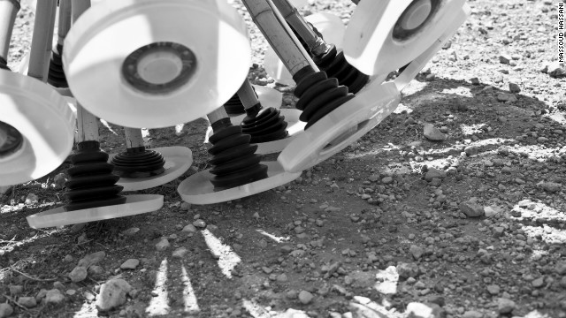 The recycled rubber feet ensure maximum contact with the ground as the Mine Kafon tumbles with the wind across areas known or suspected to contain anti-personnel landmines.