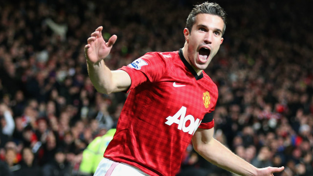 Robin van Persie celebrates his quickfire goal after just 33 seconds for Manchester United against West Ham.
