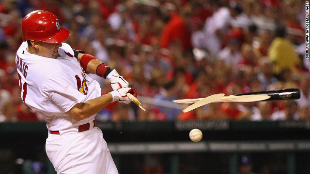 Allen Craig of the St. Louis Cardinals breaks his bat during a hit against the Los Angeles Dodgers on July 24 at Busch Stadium in St. Louis, Missouri. 