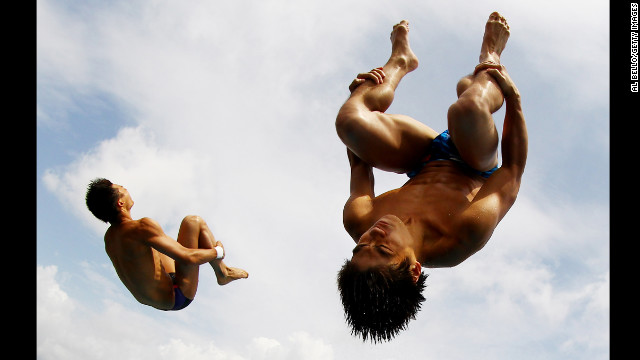 Aisen Chen and Huo Liang of China dive during the synchronized men 10-meter platform final on Day 4 of the AT&amp;T USA Diving Grand Prix on May 13 in Fort Lauderdale, Florida.