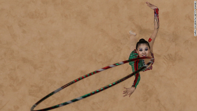 Senyue Deng of China competes in the individual all-around rhythmic gymnastics on Day 13 of the London 2012 Olympics Games on August 9.