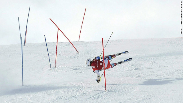 Switzerland's Fabienne Suter falls during the super combined slalom of the women's Alpine Skiing World Cup event on January 27 in St. Moritz, Switzerland.