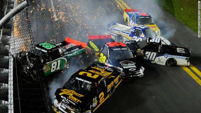 Eight cars wreck during the NASCAR Camping World Truck Series NextEra Energy Resources 250 at Daytona International Speedway on February 24, in Daytona Beach.