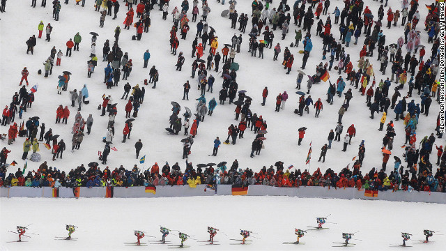 Athletes compete in the Men's 15-kilometer mass start during the IBU Biathlon World Championships at Chiemgau Arena on March 11 in Ruhpolding, Germany.