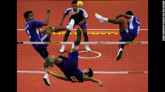 Thailand's Kaokaew Pornchai returns a shot to Indonesia's team in the men's kick volleyball semifinal during Day 3 of the ISTAF Super Series on February 25 in Palembang, Indonesia.