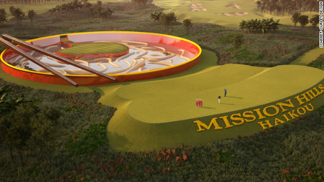 One of the signatures holes on a new fantasy course at Mission Hills in China will see players attempt to hit a green surrounded by a noodle-style hazard complete with chopsticks.