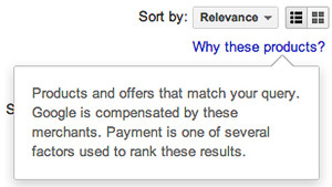 To see this disclaimer on Google Shopping results, you just click on the \