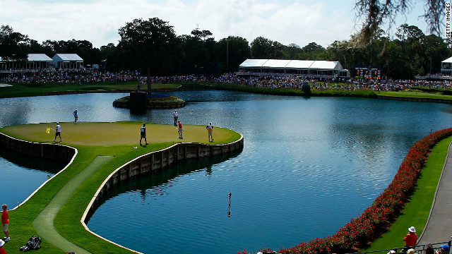 Conventional golf tests such as the daunting 17th island hole at TPC Sawgrass in Florida often rely on water to provide the challenge with a small green to aim at.
