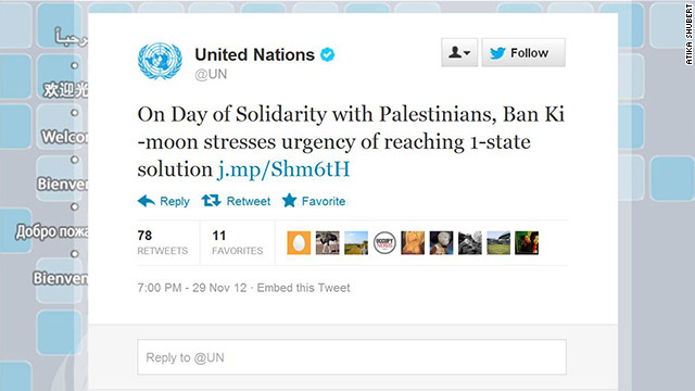 The offical U.N. Twitter account had an unfortunate typo the day of an important vote on the Palestinian Authority.