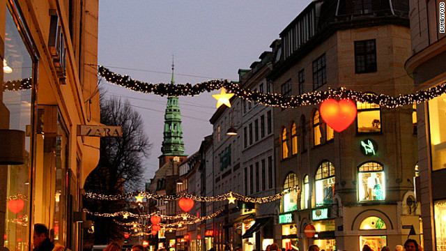 Christmas in the snowy city of Copenhagen.