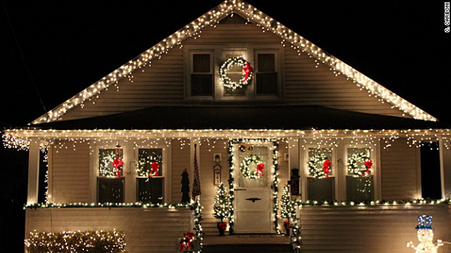 Christmas lights on a house in New York.