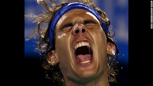 Rafael Nadal of Spain celebrates winning a point in his quarterfinal match against Tomas Berdych of the Czech Republic on day nine of the 2012 Australian Open on January 24 in Melbourne, Australia. 