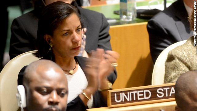 Susan Rice, U.S. ambassador to the United Nations, applauds the speech of Ron Prosor, Israeli ambassador to the United Nations, before the vote.