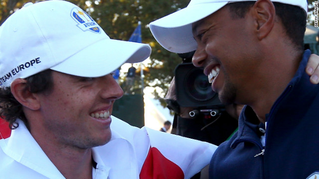 Tiger Woods, right, congratulates Rory McIlroy after Europe's remarkable victory over the U.S. on the final day of the 2012 Ryder Cup in September. The two are big rivals on the golf course, but a friendship has also blossomed this year.