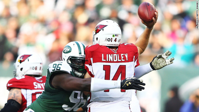 Muhammad Wilkerson of the New York Jets pressures Ryan Lindley of the Arizona Cardinals on Sunday.