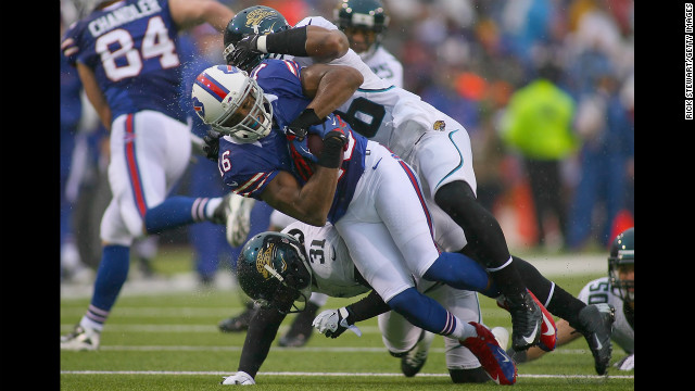 Brad Smith of the Buffalo Bills is stopped after a gain against the Jacksonville Jaguars on Sunday.