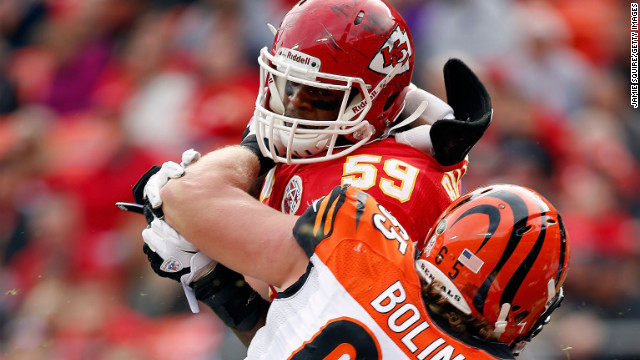 No. 59 Belcher battles guard Clint Boling of the Cincinnati Bengals during the game at Arrowhead Stadium on November 18, 2012 in Kansas City.