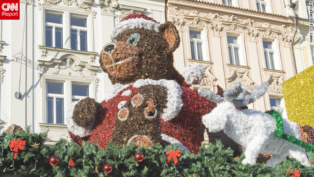 "<a href='http://ireport.cnn.com/people/pogomcl'>Mary Legg</a> shot this image of the elaborate Christmas decorations in the Old Town area of her adopted home city, Prague. ""All kinds of scrumptious fast foods are to be had from freshly roasted meat over open spits to mulled wine and the ever great Czech beer,"" she said."