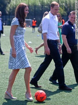 Also on July 26, she and Prince William visited Bacon's College in London. The grey and white Hobbs dress she wore sold out quickly.