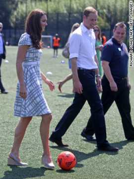 Also on July 26, she and Prince William visited Bacon's College in London. The grey and white Hobbs dress she wore <a href='http://www.fabsugar.com.au/Kate-Middletons-88-Hobbs-Dress-Has-Sold-Out-s-Still-Cute-Snoop-Her-Olympics-Style-from-All-Angles-24173205' target='_blank'>sold out quickly.</a>