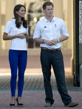Just before the London Olympics, the duchess wore blue denim while waiting outside Buckingham Palace with Prince Harry during the torch relay on July 26.