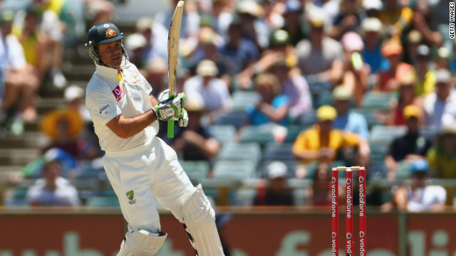 Ponting, one of only three players to have scored more than 13,000 Test runs, managed a trademark early boundary as Australia chased a huge target of 623 to win.