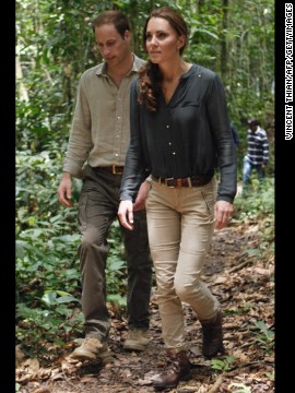 Prince William and Catherine dress casually for a walk through the Danum Valley research center in Sabah, Malaysia, on September 15.