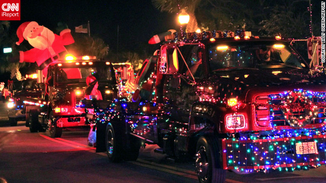 "In the Floridian coastal town of Sebastian, ""people decorate cars and boats to show their spirit of Christmas"" before parading them through town, said <a href=' http://ireport.cnn.com/people/postman555'>Billy Ocker</a>. ""Old cars, boats, bikes, tow-trucks, fire trucks and floats,"" are a common sight. ""Anything that has wheels would be allowed,"" he added."
