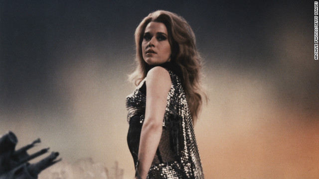 "Fonda acts in the science fiction fantasy film ""Barbarella,"" 1968."