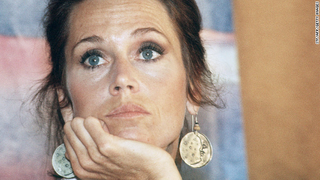 Fonda speaks to the press for her film &quot;Coming Home&quot; in 1978 in Cannes, France, during the 31st International Cannes Film Festival. &quot;Coming Home&quot; netted her an Academy Award for best actress, her second. She also won for &quot;Klute&quot; in 1971.