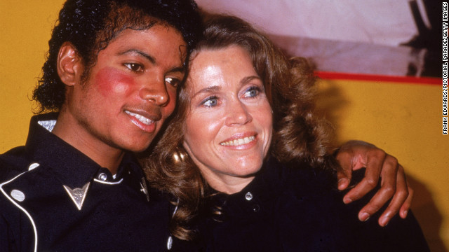Fonda and pop star Michael Jackson in 1983, celebrate his album &quot;Thriller&quot; and her workout album going gold.