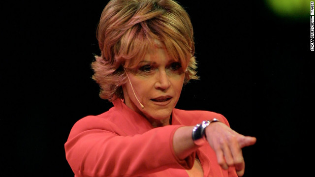 "Fonda performs at ""V-Day,"" a gala benefit of Eve Ensler's ""The Vagina Monologues,"" in New York in 2001. V-Day bills itself as a global activist movement to end violence against women and girls. Fonda has been an active supporter since 2000, according to the V-Day <a href='http://www.vday.org/node/54' target='_blank'>website</a>."
