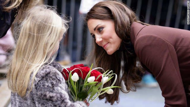 Catherine talks with a young girl as she arrives for a visit to Alder Hey Children's Hospital on February 14, 2012, in Liverpool, England. 