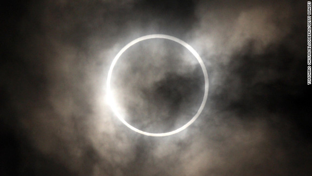 <strong>May 21: </strong>The sun is obscured by the moon during an annular solar eclipse in Tokyo.