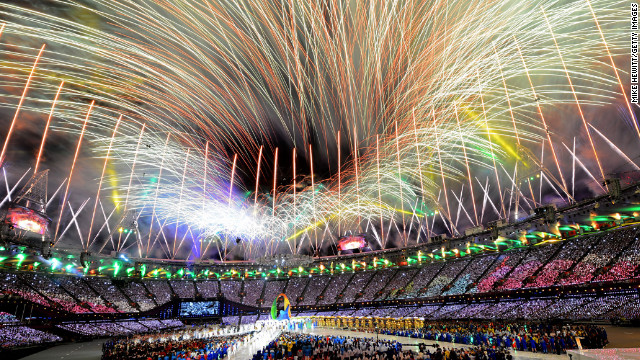 August 12: Fireworks explode over the stadium during the closing ceremony of the London Olympics. The Summer Games started on July 27.