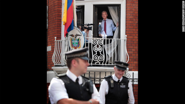 August 19: WikiLeaks founder Julian Assange is seen on the balcony of Ecuador's embassy in London. Facing extradition to Sweden because of allegations of sexual assault, Assange was granted political asylum by Ecuador.