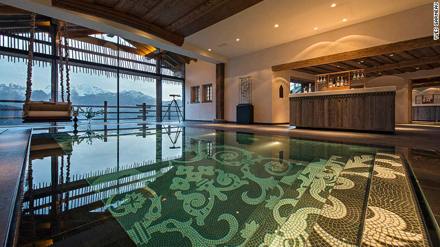 If you are lucky enough to be staying in the master en-suite room in Chalet B at Trois Couronnes you have a 19th century elevator that drops you right by the pool. Heated by solar and geothermal power, it also boasts an art gallery, wine cellar and banqueting hall.