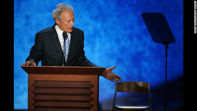 August 30: Actor Clint Eastwood speaks on the final day of the Republican National Convention in Tampa, Florida. During his speech, he addressed an &quot;invisible&quot; President Barack Obama sitting in an empty chair.