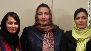 Sajia Behgam Amin, from left, Massouda Jalal and Suraya Paksad