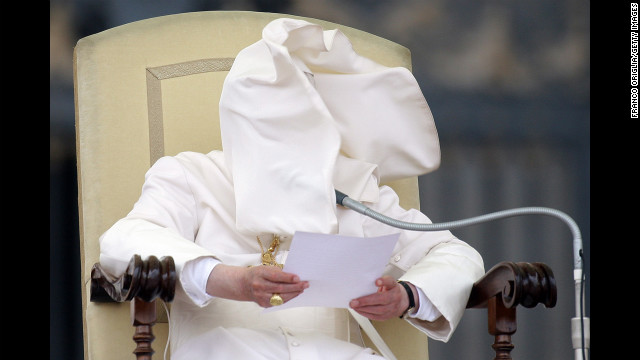 September 26: A gust of wind blows Pope Benedict XVI's cloak into his face in St. Peter's Square in Vatican City. Days later, the pope's former butler, Paolo Gabriele, was convicted of aggravated theft for leaking confidential papal documents. He was sentenced to 18 months in prison.