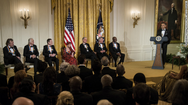 Obama toasts the accomplishments of the Kennedy Center honorees at an event Sunday in the White House East Room. 