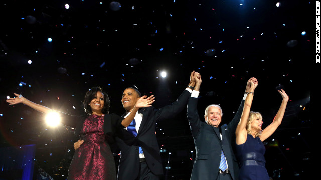 November 6: President Barack Obama stands on stage with first lady Michelle Obama, U.S. Vice President Joe Biden and Dr. Jill Biden after his victory speech on Election Night in Chicago. Obama was re-elected with 332 electoral votes and 51% of the popular vote.