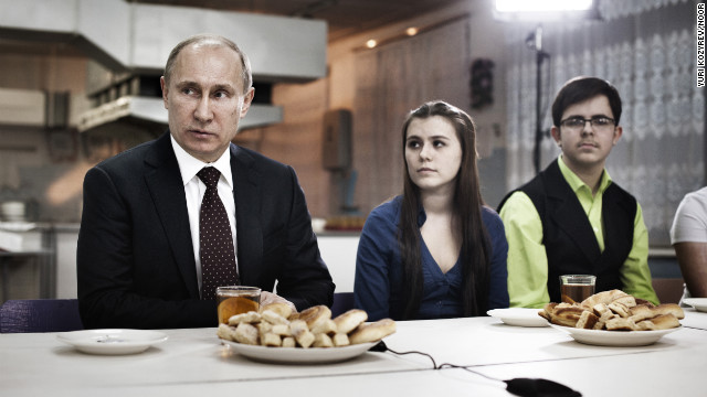 February 13: Prime Minister Vladimir Putin meets with a group of parents, teachers and students in Kurgan, a factory town at the southern end of the Ural Mountains. Putin won a third term as Russia's president on March 4.