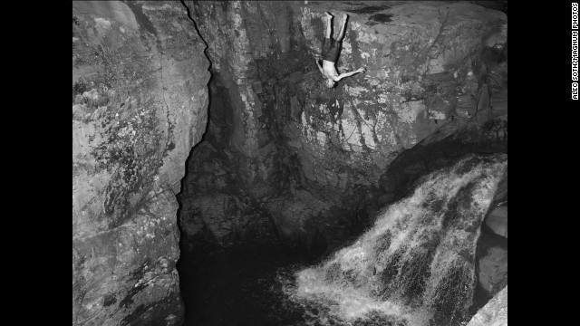 <strong>August 13:</strong> A man dives into the water near Kaaterskill Falls in the Catskill Mountains in the Hudson Valley.