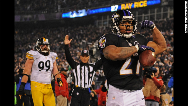 Running back Ray Rice of the Baltimore Ravens celebrates a third quarter touchdown against the Pittsburgh Steelers on Sunday at M&amp;T Bank Stadium in Baltimore.