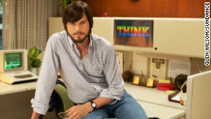Kutcher, in full \'70s mode, as Steve Jobs.